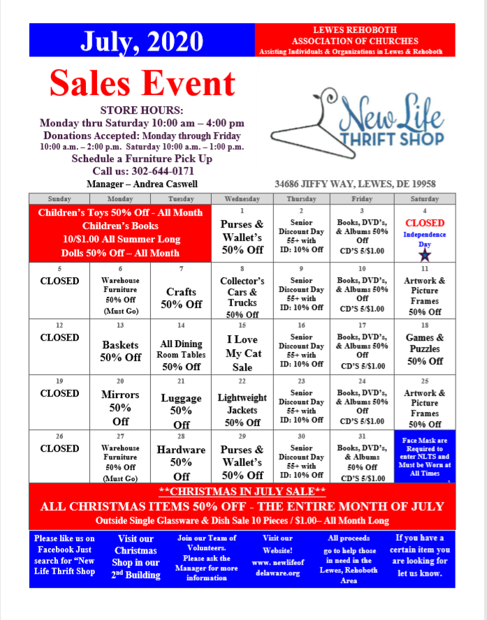 NLTS - July Sales Calendar