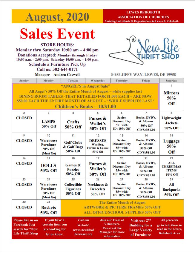 August 2020 Sales Calendar