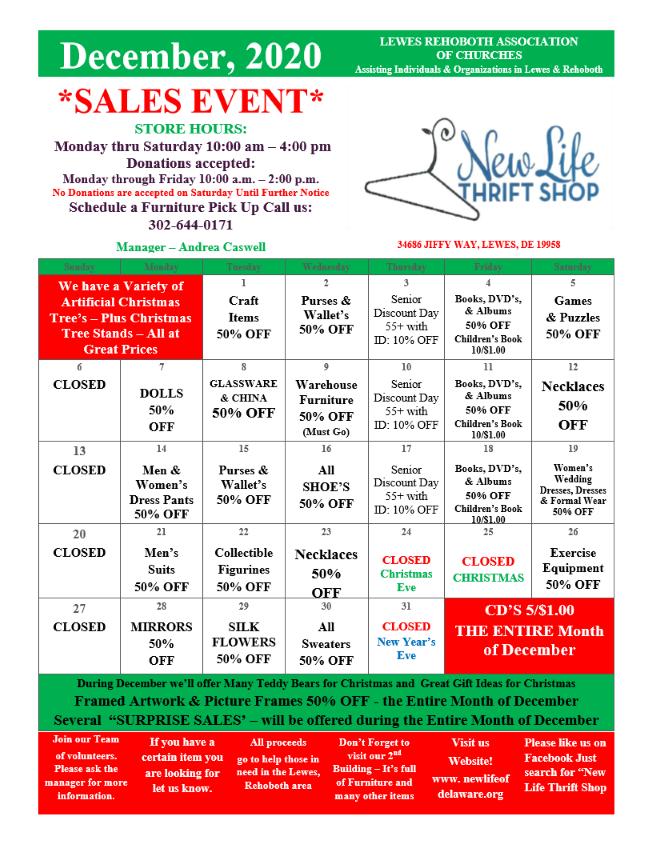 December Sale Calendar